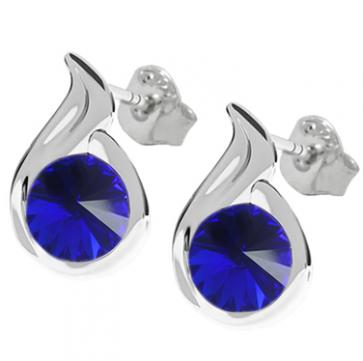 Cercei Meda - Cristale Swarovski Rivoli Majestic Blue