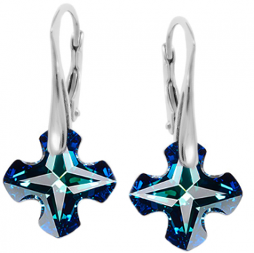 Cercei Greek Cross Bermuda Blue - Cristale Swarovski
