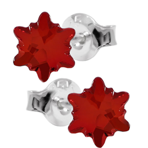 Cercei Light Siam Edelweiss - Cristale Swarovski