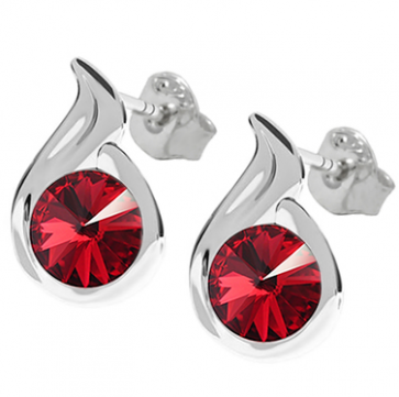 Cercei Meda - Cristale Swarovski Rivoli Red Scarlet