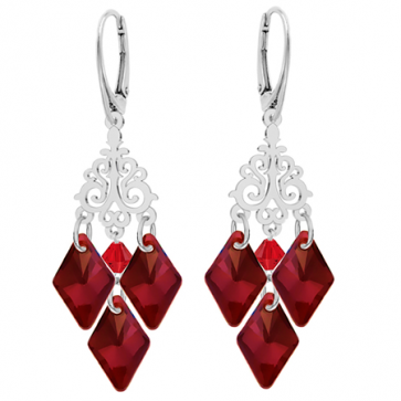 Cercei Candelabru Rosu Siam - Cristale Swarovski