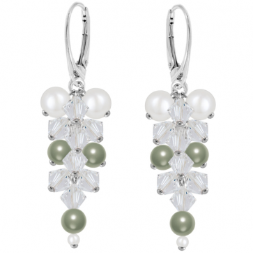 Cercei Aria Powder Green - Perle & Cristale Swarovski