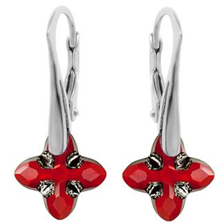 Cercei Cross Tribe - Cristal Swarovski® Light Siam Designer Edition Céline Cousteau