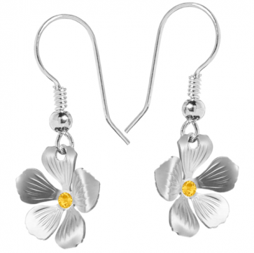 Cercei Floricele - Cristale Swarovski Fucsia Sunflower