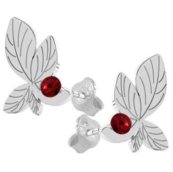 Cercei Frunze - Cristale Swarovski Rosu Siam