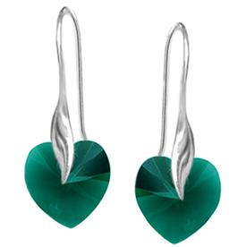 Cercei Inimioare - Cristale Swarovski Emerald