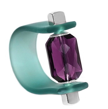 Inel Missi Concept - Cristal Swarovski Emerald Cut Ametist