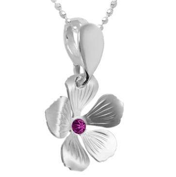 Pandantiv Floare - Cristal Swarovski Fucsia