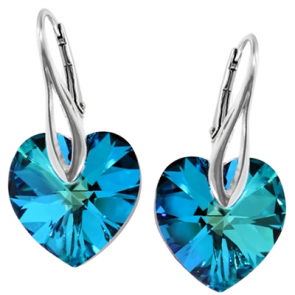 Cercei Bermuda Blue - Inimioare Cristale Swarovski