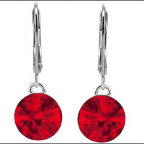 Cercei Rivoli Rosu Light Siam - Cristale Swarovski