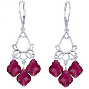 Cercei Baroque Rubin - Cristale Swarovski