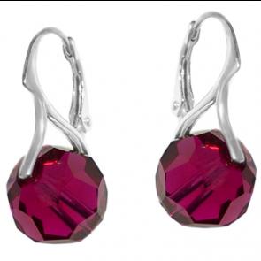 Cercei Red Ruby - Cristale Swarovski