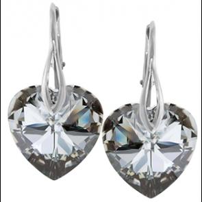Cercei Inimioare Light Chrome - Cristale Swarovski