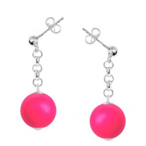 cercei perle swarovski roz neon si argint