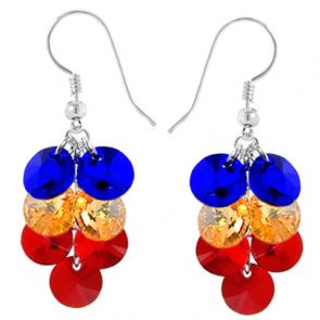 Cercei Tricolor - Cristale Swarovski