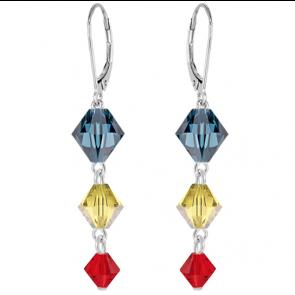 Cercei Xilion - Cristale Swarovski Tricolor