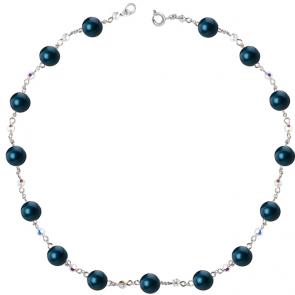 Colier Blue Petrol - Cristale & Perle Swarovski