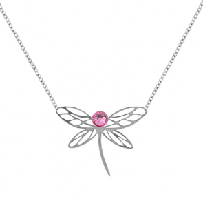 Colier Libelula - Cristale Swarovski Rose