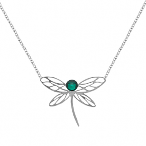 Colier Libelula - Cristale Swarovski Emerald
