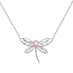 Colier Libelula - Cristale Swarovski Light Rose