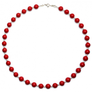 colier perle swarovski rosu coral