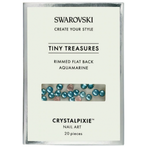 Cristale Swarovski - Crystal Pixie Tiny Treasures Rimmed Flat Back Aquamarine