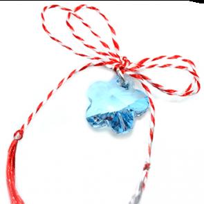 Martisor Pandantiv Blue Flower - Cristal Swarovski