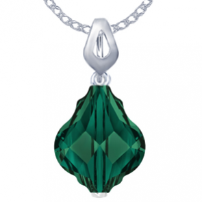 Pandantiv Baroque Emerald - Cristale Swarovski