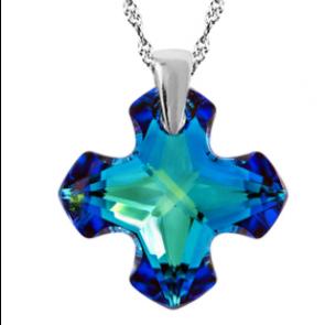 Pandantiv Greek Cross Bermuda Blue - Cristal Swarovski