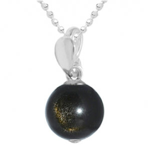 Pandantiv Ambra - Obsidian Auriu