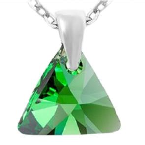 Pandantiv - Dark Moss Triangle - Cristal Swarovski