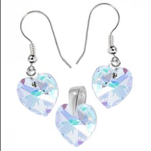 Set Inimioare Aurora Boreala - Cristale Swarovski