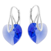 Cercei Inimioare Albastru Safir - Cristale Swarovski