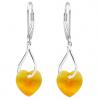 Cercei Twist - Cristale Swarovski Inimioare Tangerine