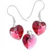 Set Inimioare Indian Pink - Cristale Swarovski