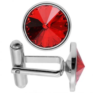 Butoni Cristale Swarovski Rosu Light Siam