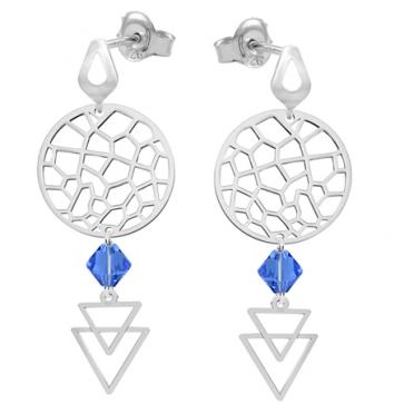 Cercei Gizele - Cristale Swarovski Albastru Safir
