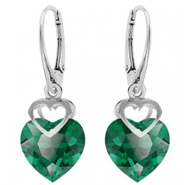 Cercei Inimioare - Cristale Swarovski Verde Smarald