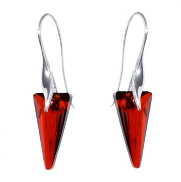 Cercei cristale Swarovski rosu magma