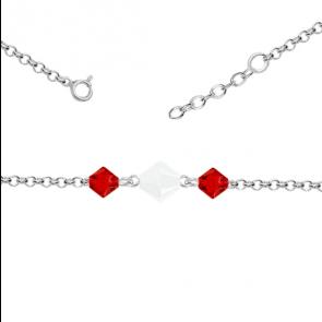 Bratara Xilion Red & White - Cristale Swarovski