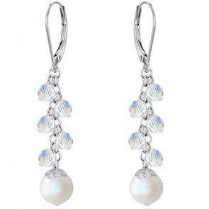 Cercei Pearlescent White - Perle & Cristale Swarovski