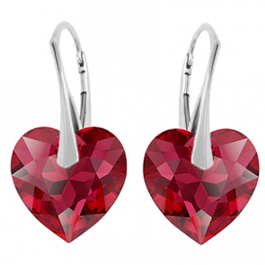Cercei Inimioare Scarlet - Cristale Swarovski
