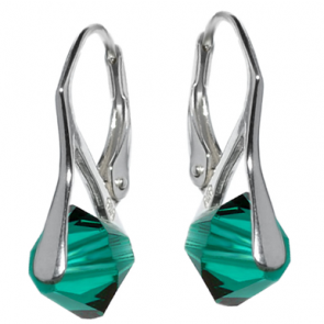 Cercei Xilion Smarald - Cristale Swarovski