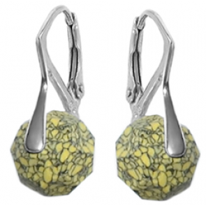 Cercei Yellow Marbled  - Cristale Swarovski