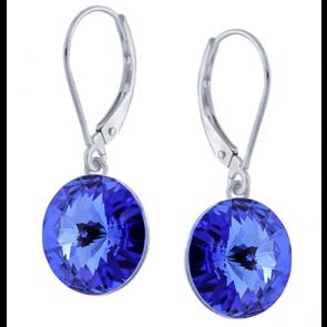 Cercei Rivoli Albastru Safir - Cristale Swarovski