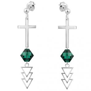 Cercei Cruciulite - Cristale Swarovski Emerald