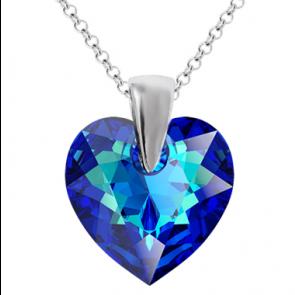 Colier Inimioara Bermuda Blue - Cristal Swarovski