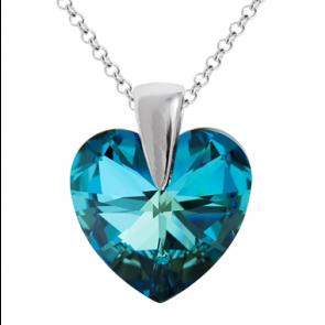 Colier Inimioara Cristal Swarovski Bermuda Blue