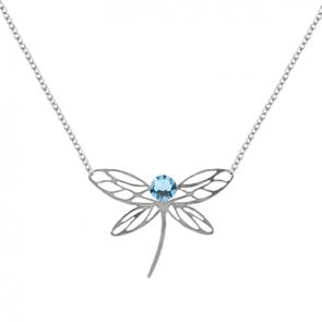 Colier Libelula - Cristale Swarovski Aquamarine