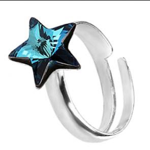 Inel Steluta - Cristal Swarovski Bermuda Blue